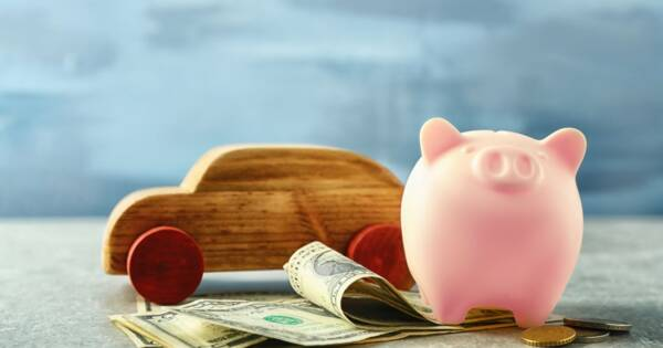 Piggy Bank and Cash by Car