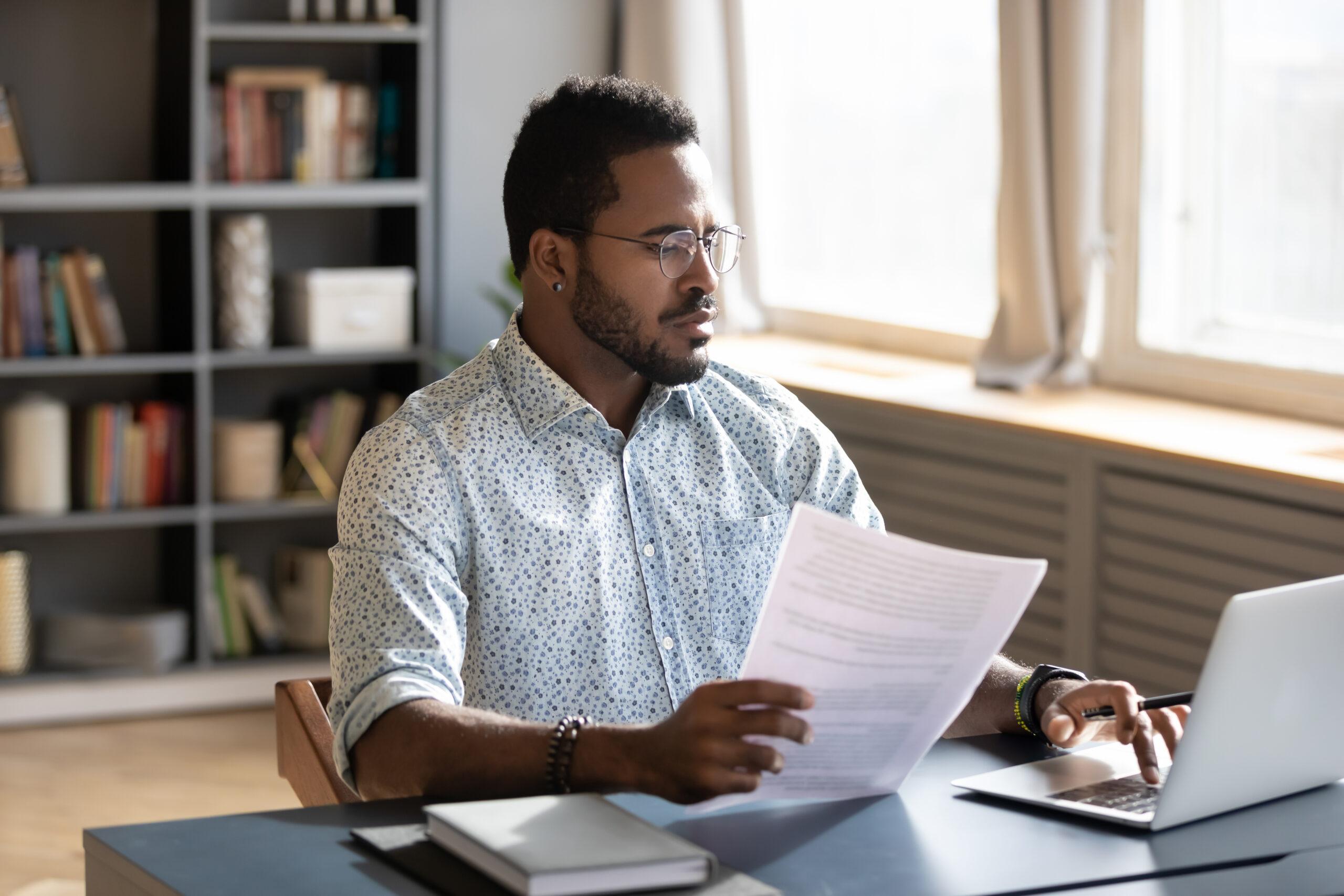 Man reviewing his resume
