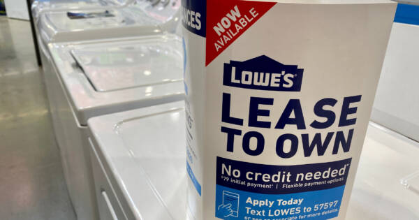 Appliances with Lease to Own Sign