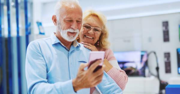 Seniors Shopping on Mobile Phone