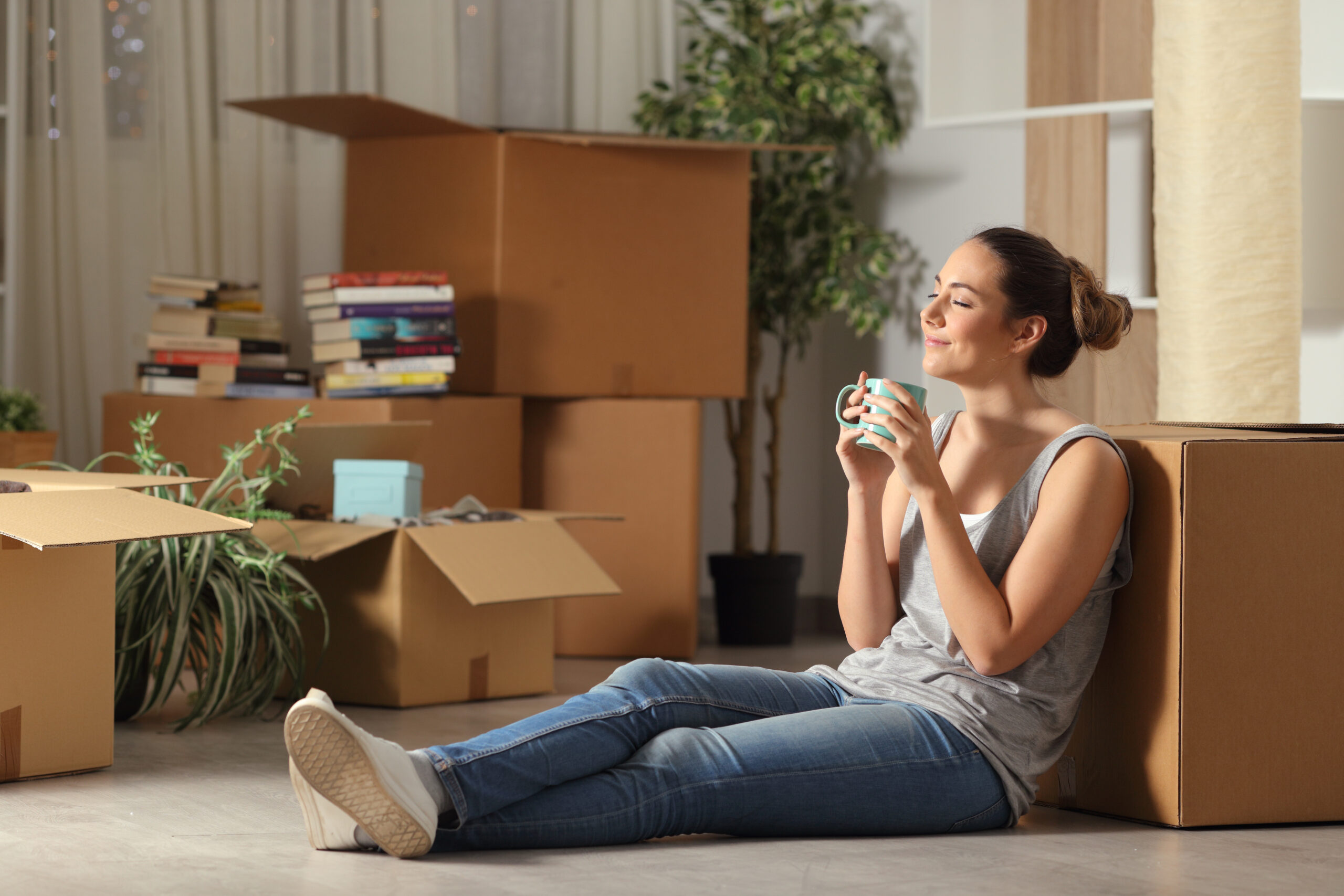 Young woman living in her first apartment
