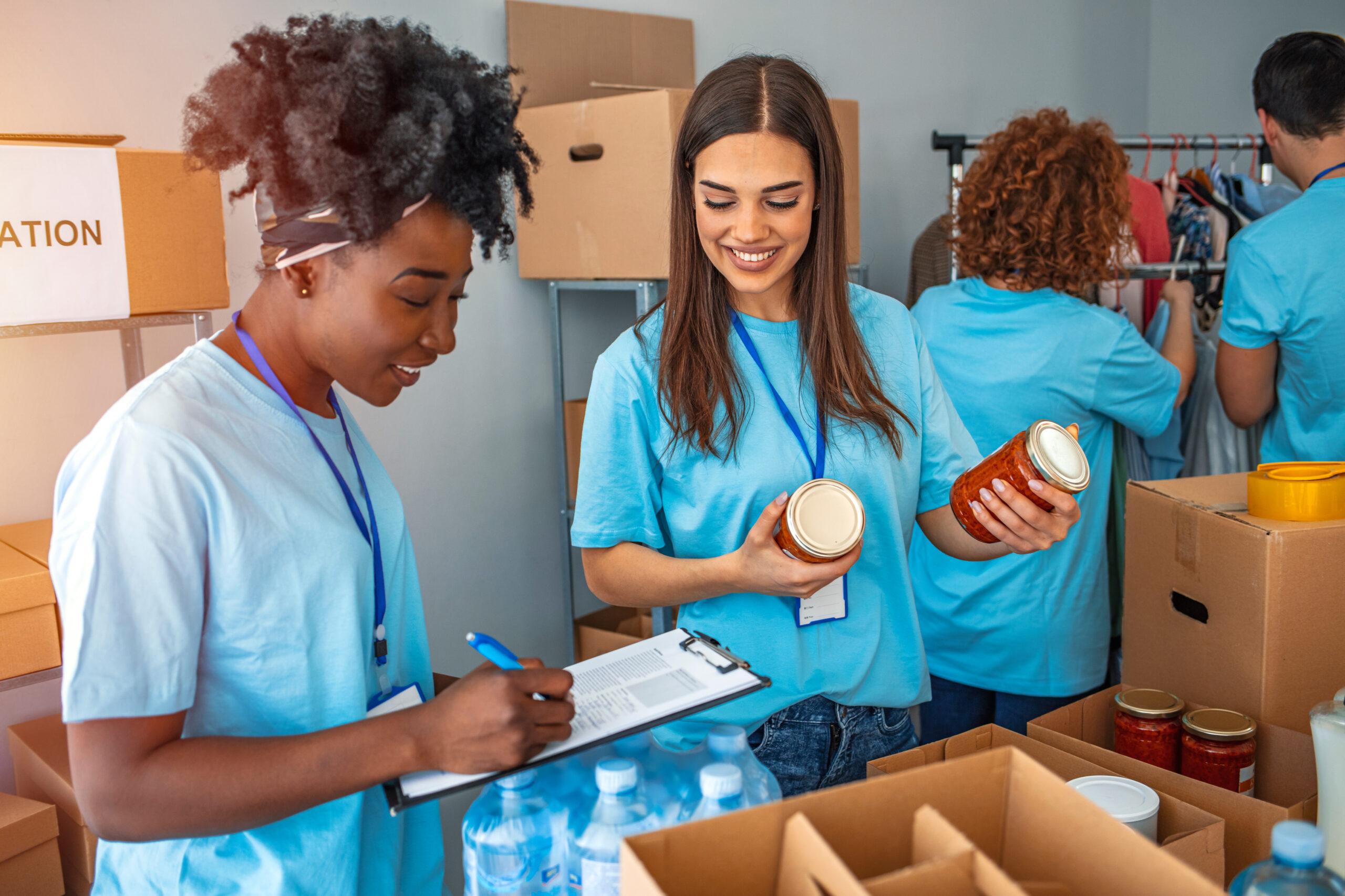 Young women volunteering